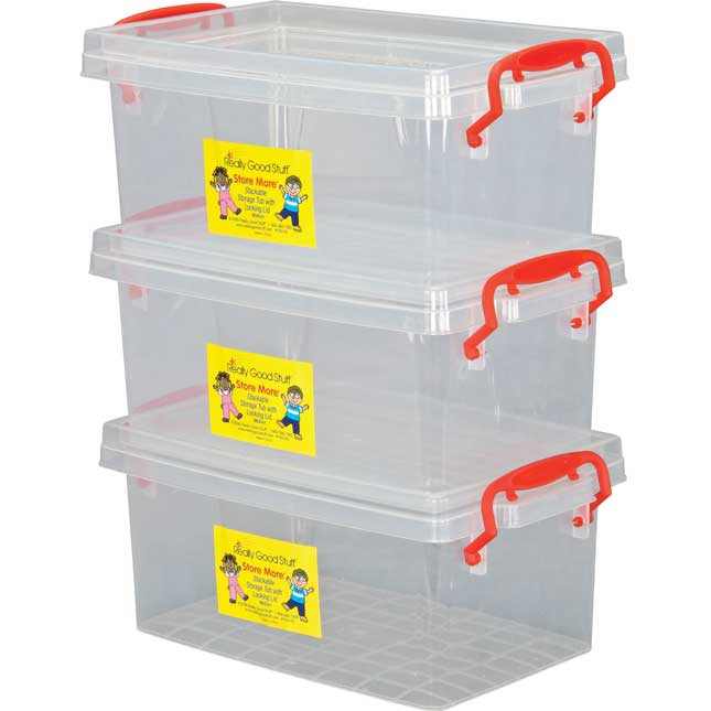 Stackable Storage Tubs With Locking Lids, Med.