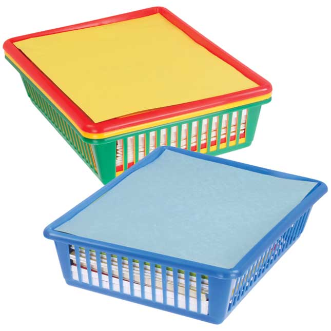 Oversized Paper And Folder Baskets - Primary Colors