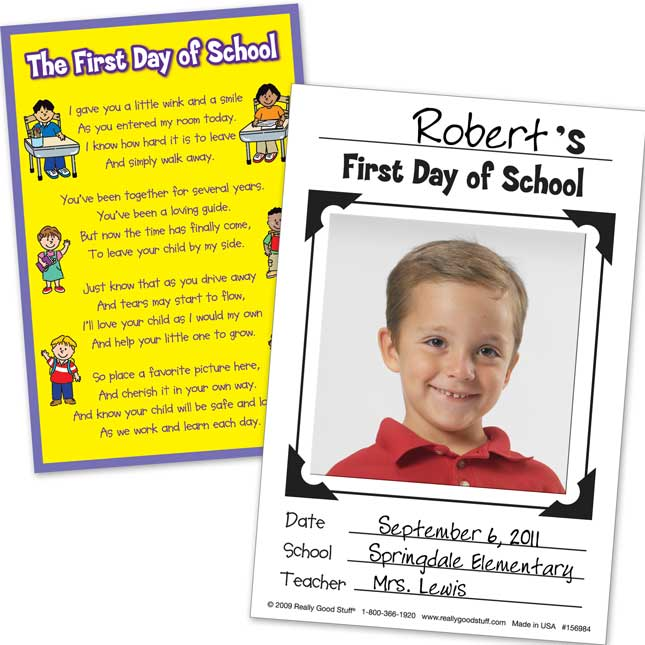 First Day Of School Poem And Photo Cards