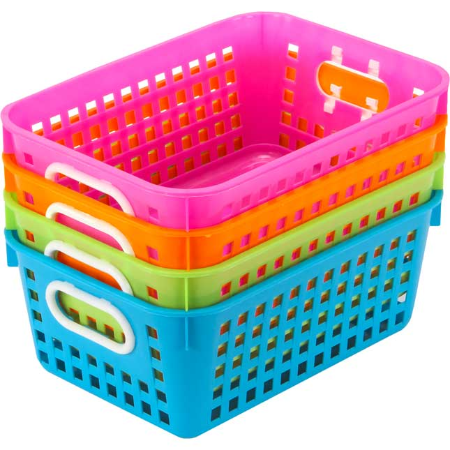 Book Baskets, Medium Rectangle -Neon Colors