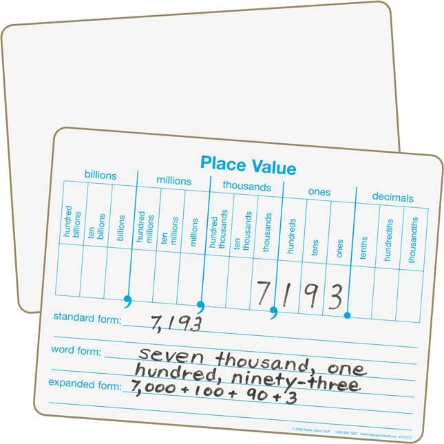 Place Value Dry Erase Board Set