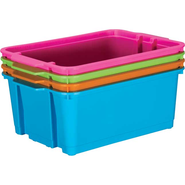 Classroom Stacking Bins - Neon Colors