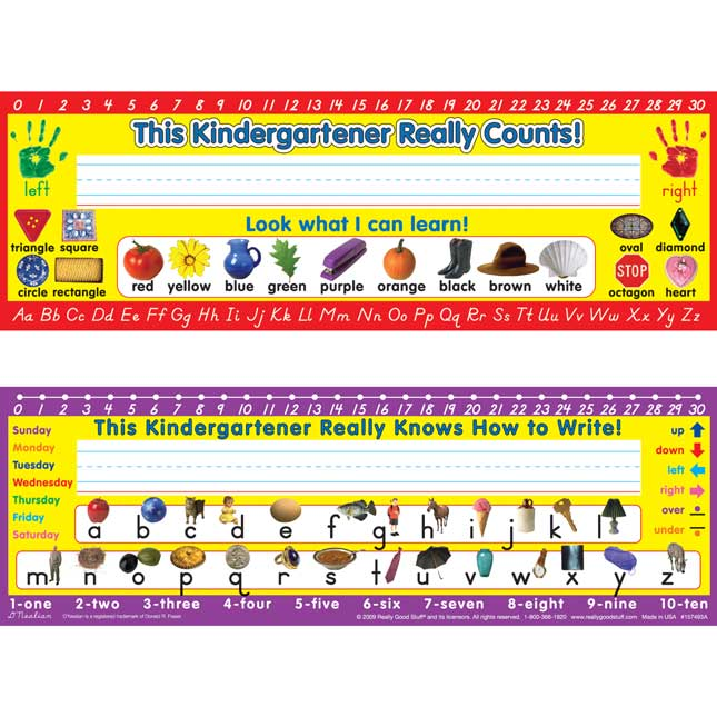 D'Nealian Kindergarten Two-Sided Cardstock Desktop Helpers™ With Sleeves - Set Of 12