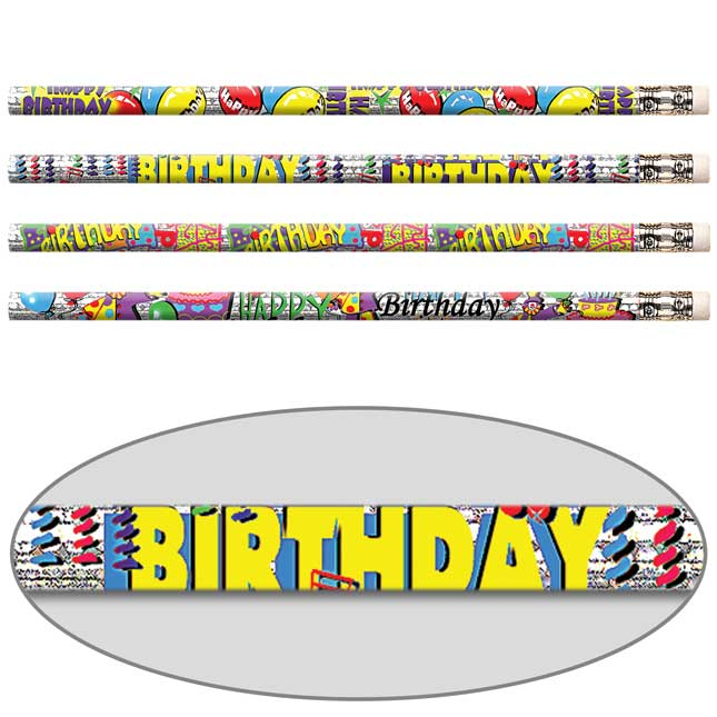 Happy Birthday Glitter Pencils
