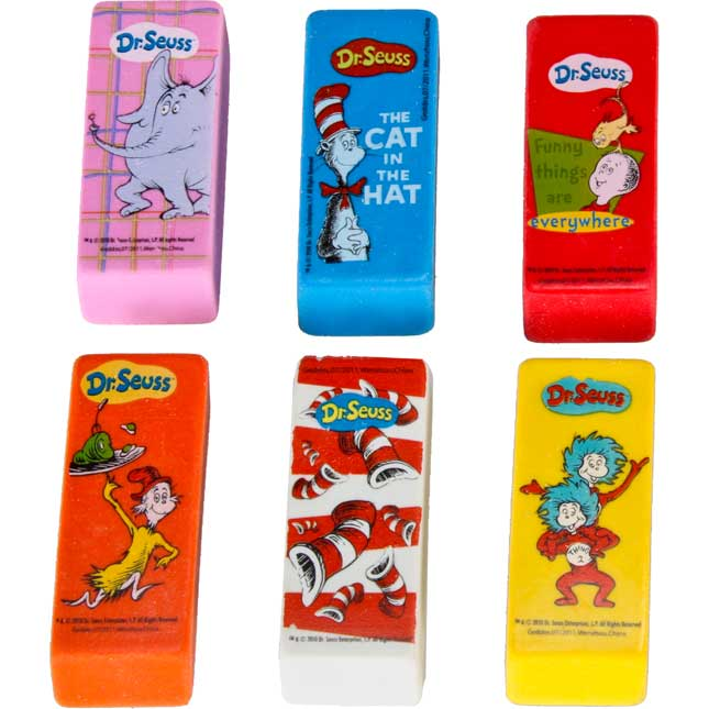 Dr. Seuss™ Beveled Erasers - Set of 36