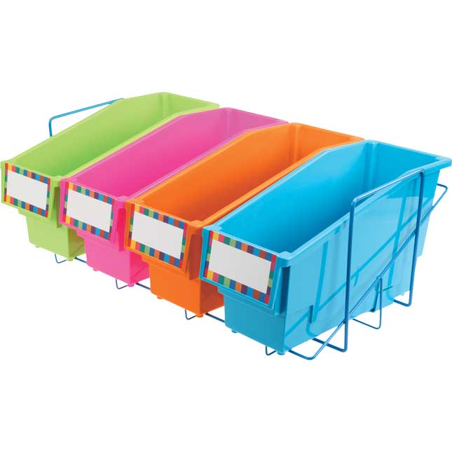 Durable Book And Binder Holders With Stabilizer Wing Storage Rack - Neon