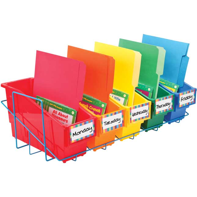 Store More® Durable Book And Binder Holder With Stabilizer Wing And Storage Rack - 5-Pack, Primary