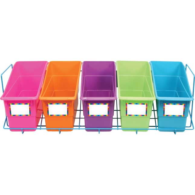 Store More® Durable Book And Binder Holders With Storage Rack - 5-Pack Neon