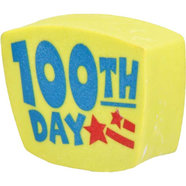 100th Day Pencil Topper Erasers