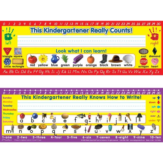 D'Nealian Kindergarten Two-Sided Cardstock Desktop Helpers - Set of 12
