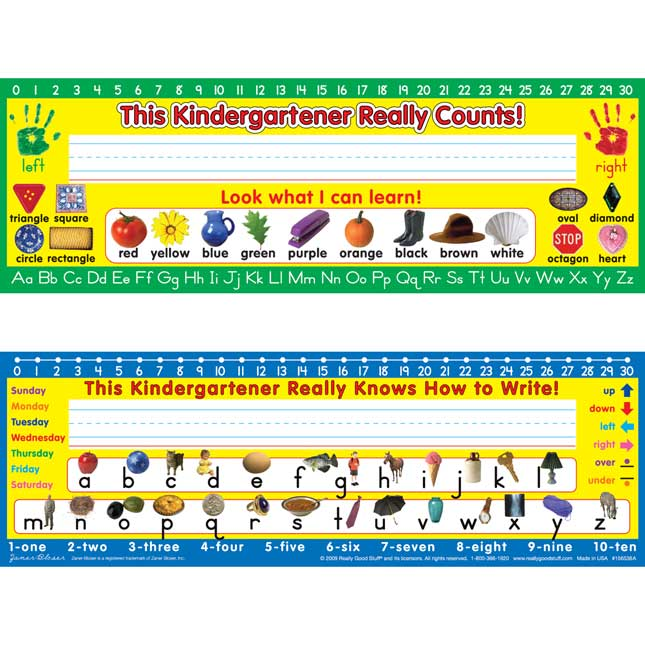 Zaner-Bloser Kindergarten Two-Sided Cardstock Desktop Helpers - Set of 12