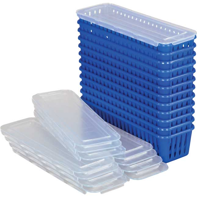 Pencil And Marker Baskets With Lids - 12 Pack