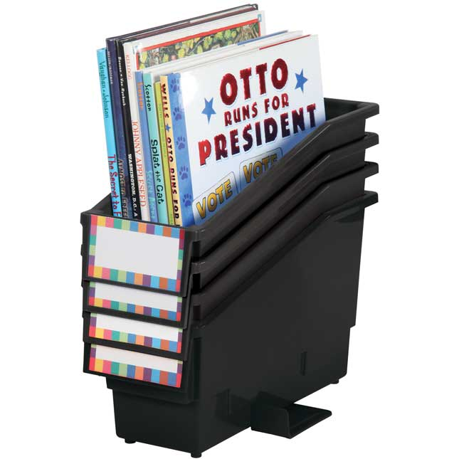 Book And Binder Holder With Stabilizer Wing And Label Holder™ - Black