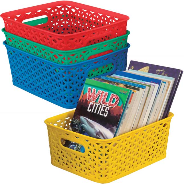 Book And Supply Baskets, Medium Rectangle - Primary