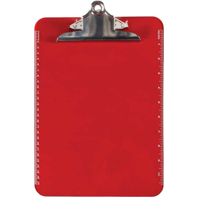 Translucent Plastic Clipboard With Spring Clip - Red