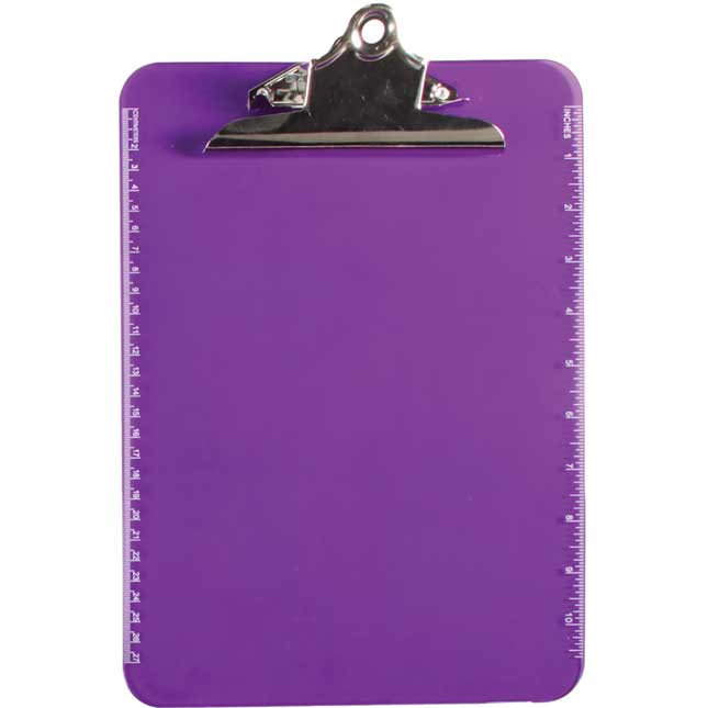 Translucent Plastic Clipboard With Spring Clip - Violet