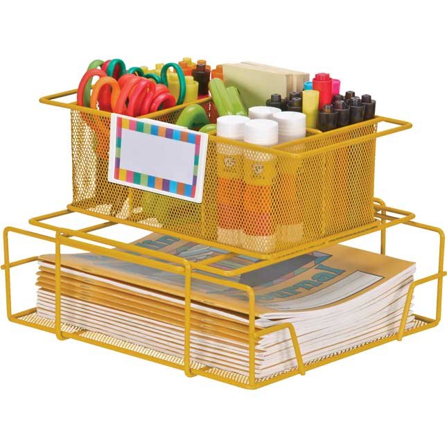 Wire Works Group Materials Caddies With Label Holders - Set Of 24 Multicolor