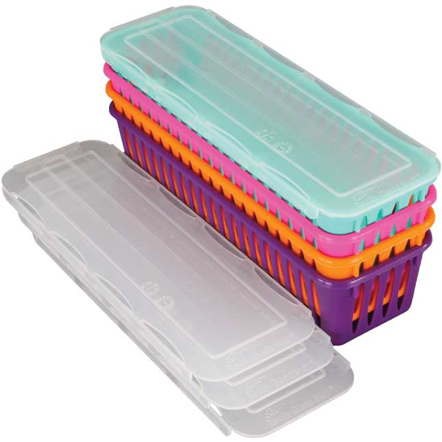 Pencil And Marker Baskets With Lids - 4-Pack, Neon Set 2