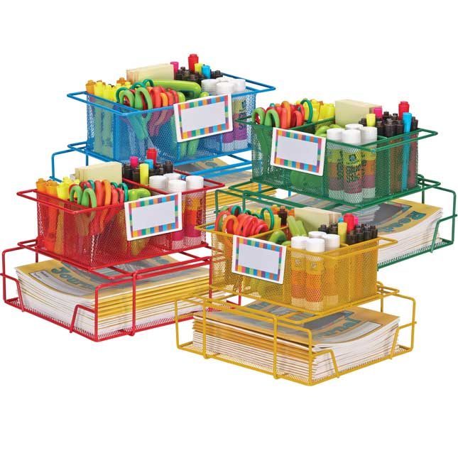 Wire Works Group Materials Caddies™ With Label Holders - Set Of 4 Multicolor