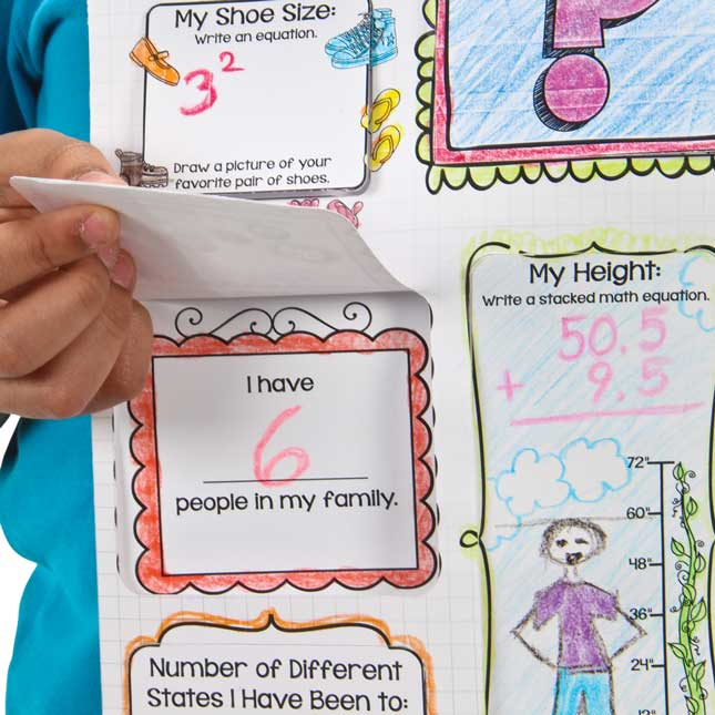 Ready-To-Decorate® Math Facts About Me Jumbo Lift-A-Flap