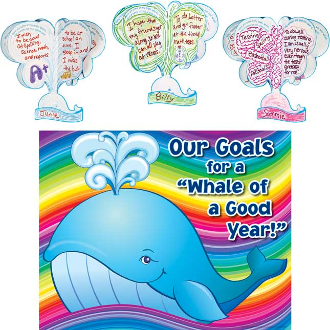 """Ready-To-Decorate® 3-D """"Whale Of A Good Year"""" Goals Bulletin Board Display"""