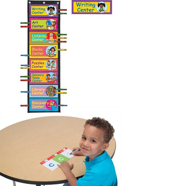 Early Elementary Centers EZ-Tuck Clip 'N' Track Pocket Chart™ With Center Labels