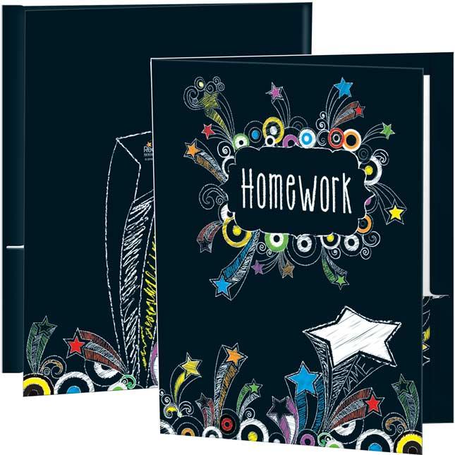 Chalkboard-Style Shooting-Stars Homework Folders