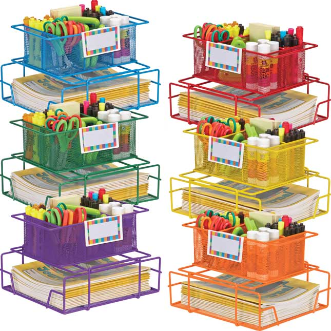 Wire Works Group Materials Caddies™ With Label Holders - Set Of 6