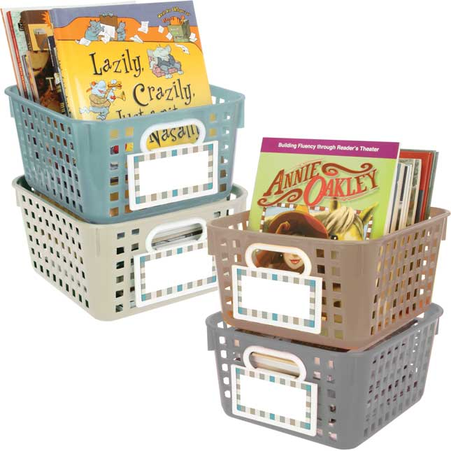 4-Pack Universal Basket And Bin Label Holders With Labels - Shoreline