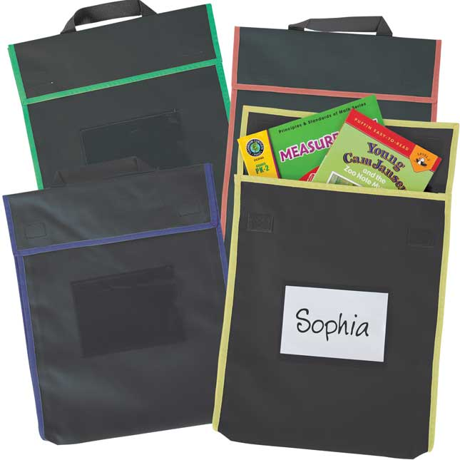 Store More® Large Book Pouches - Black With Primary Trim - Set Of 36