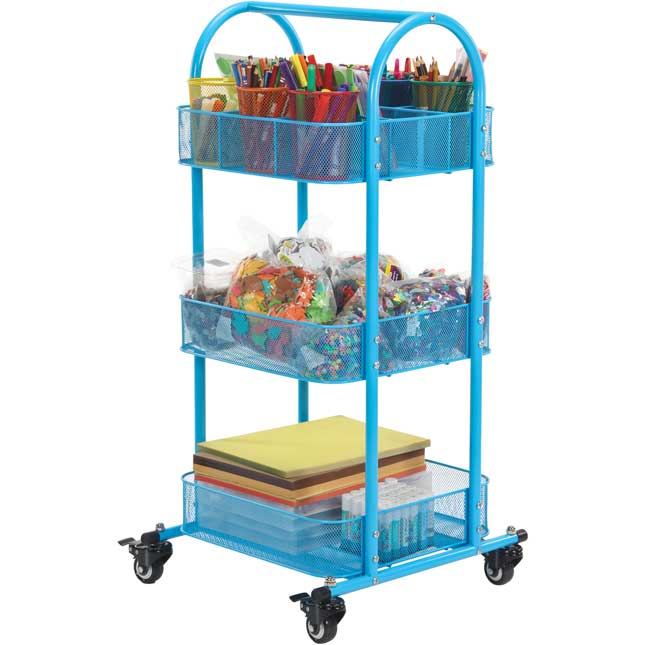 Mobile Supplies Cart With Large Mesh Cups