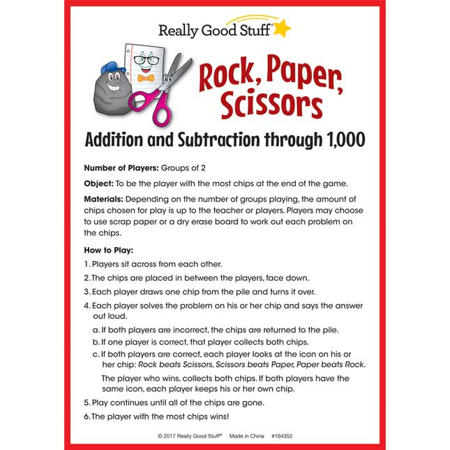 Rock, Paper, Scissors Math Game - Addition And Subtraction Through 1,000