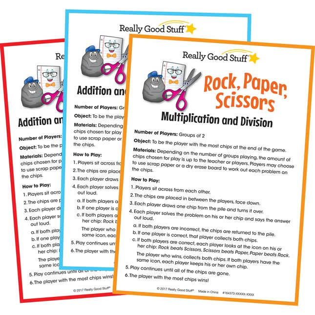 Rock, Paper, Scissors Math Games - Intermediate Set