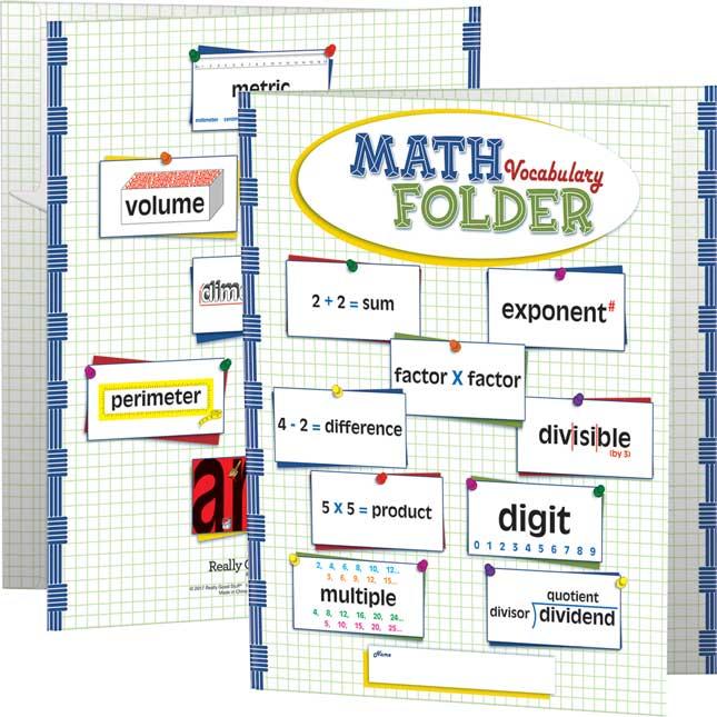 Math Vocabulary Tri-Fold 3-Pocket Folders - Intermediate