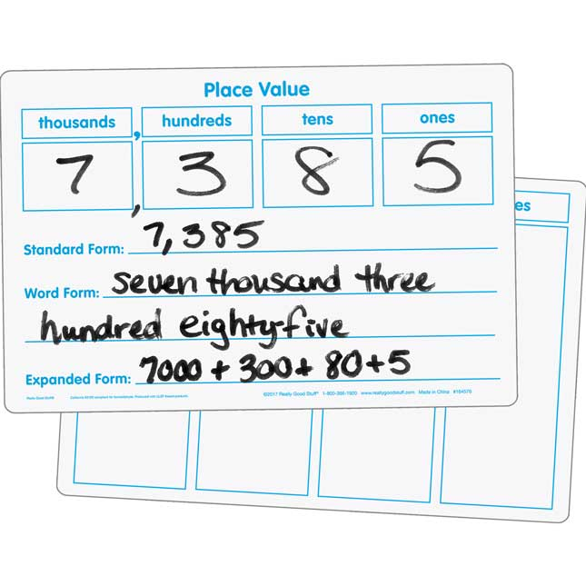 Basic Place Value Dry Erase Boards