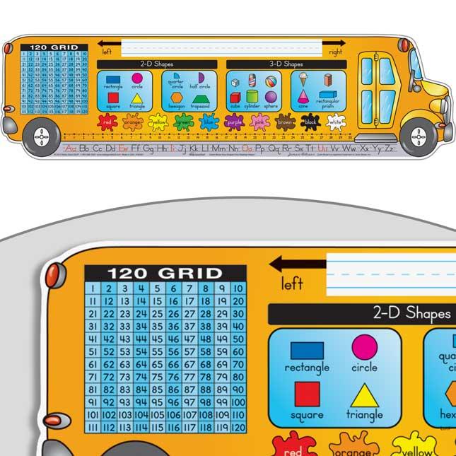 Zaner-Bloser Bus-Shaped Self-Adhesive Deluxe Plastic Desktop Helpers™