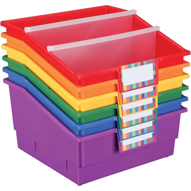 Group Colors For 6 - Picture Book Bins With Dividers