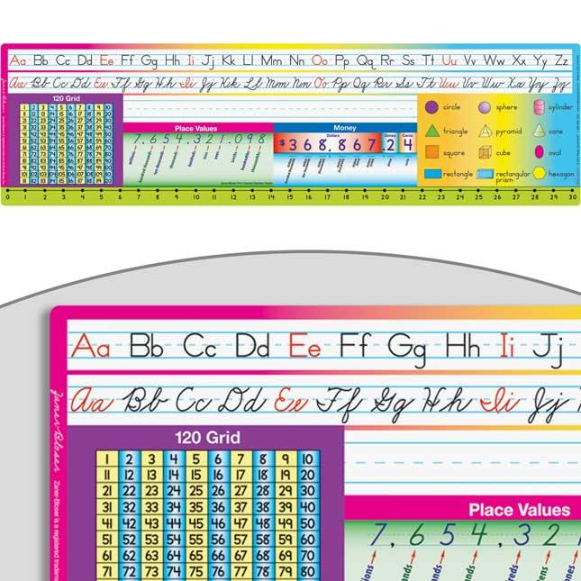Print Cursive Zaner-Bloser Self-Adhesive Vinyl Desktop Helpers™ With 120 Grid
