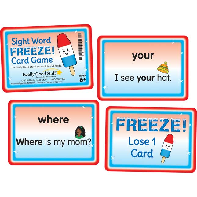 Sight Word FREEZE! Card Game