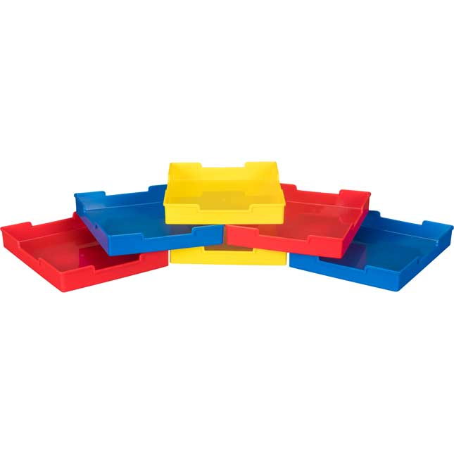 Plastic Trays - Set Of 6 - Primary Colors