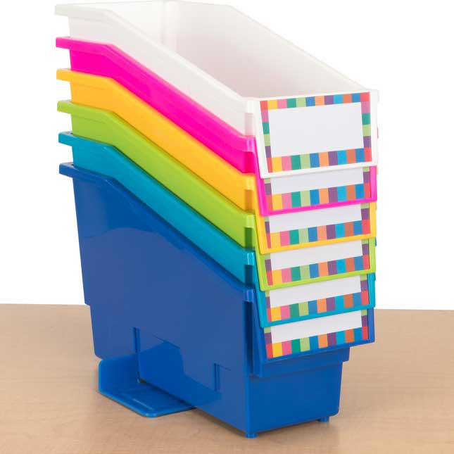 Durable Book and Binder Holders With Stabilizer Wings™ and Label Holder - Set Of 6 - Tropics