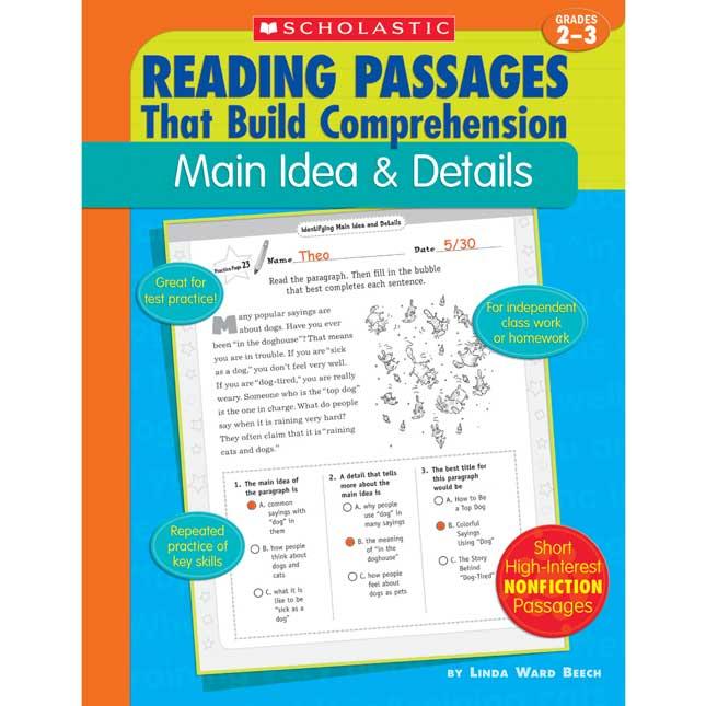 Reading Passages Main Idea And Details Book - Grades 2-3