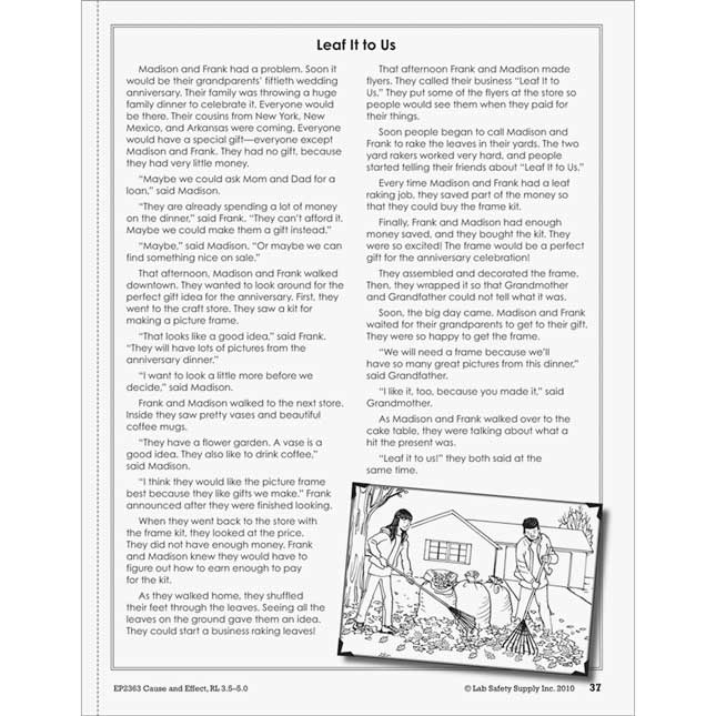 Cause And Effect  Comprehension Activities Book - Level: 3.5-5.0