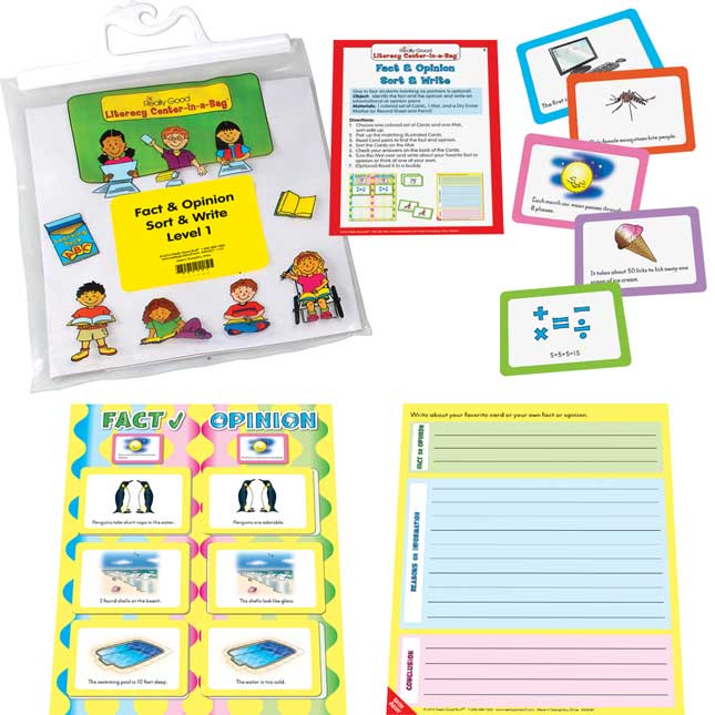 Fact and Opinion Sort and Write Level 1 Literacy Center