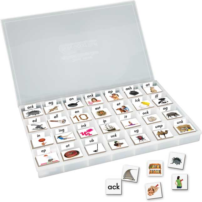 EZread Magnetic Photo Tiles: Short Vowel Families With Storage Case