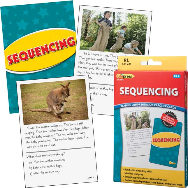 Reading Comprehension Practice Cards - Yellow Level - Sequencing