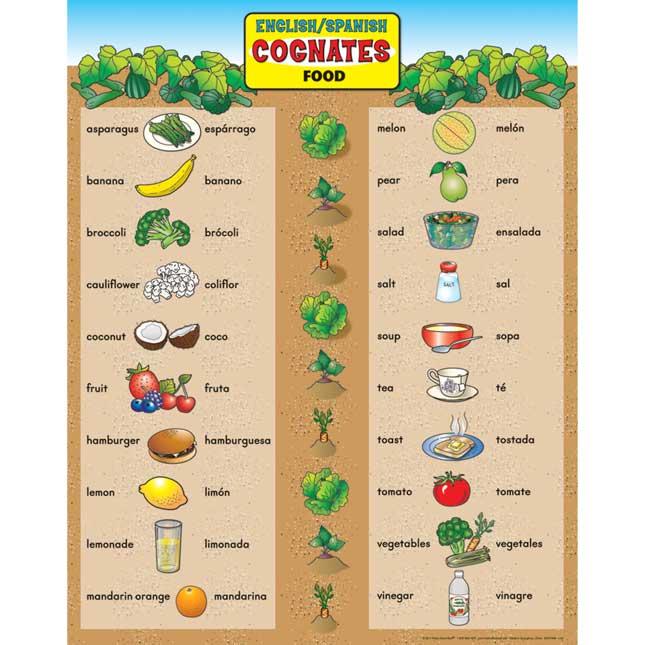 English/Spanish Cognates Food Poster