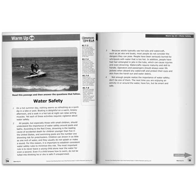 Common Core Reading Warm-Ups And Test Practice Book - Grade 7