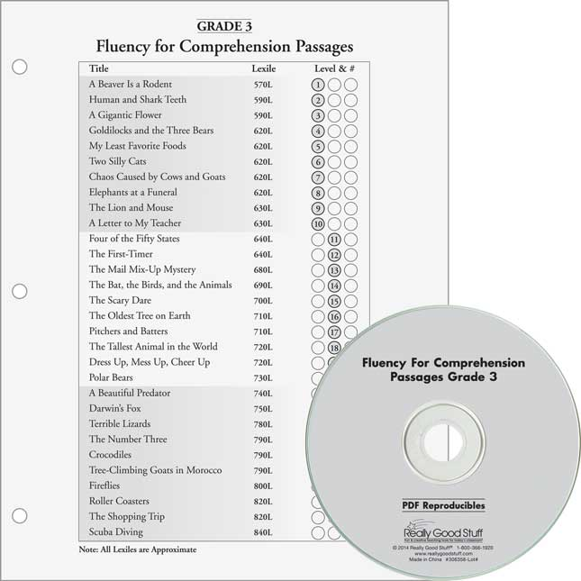 Fluency For Comprehension Set - Passages and CDs - Grades 1-3