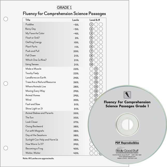 Fluency For Comprehension Science Passages - Grade 1